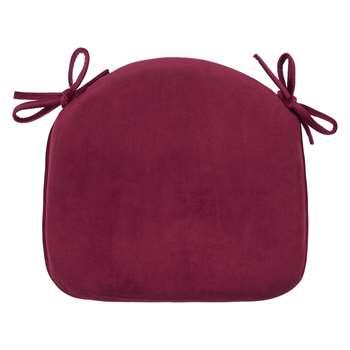 John Lewis & Partners Velvet Seat Pad, Bordeaux Red (H41 x W42 x D4cm)