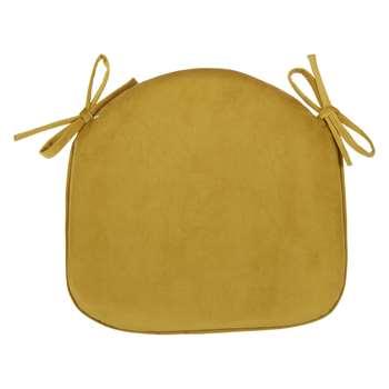 John Lewis & Partners Velvet Seat Pad, Gold (H41 x W42 x D4cm)