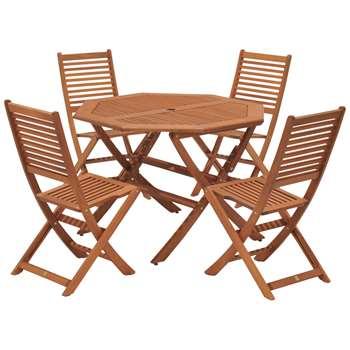 John Lewis & Partners Venice 4 Seater Garden Table & Chairs Set, FSC-Certified (Eucalyptus), Natural (H74.85 x W101.7 x D101.7cm)