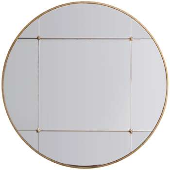 John Lewis & Partners Vina Embellished Round Mirror, Antique Gold (H90 x W90 x D2.5cm)