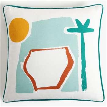 John Lewis & Partners Vista Showerproof Outdoor Cushion, Multi (H43 x W43cm)