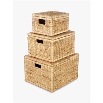 John Lewis & Partners Water Hyacinth Storage Baskets, Set of 3 (H29 x W45 x D40cm)