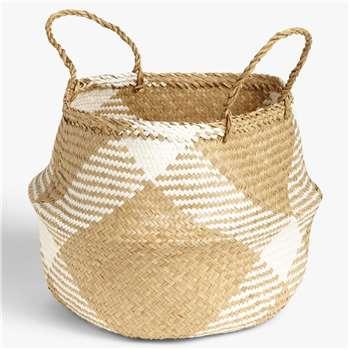 John Lewis & Partners White Pattern Seagrass Basket (H45 x W40 x D40cm)