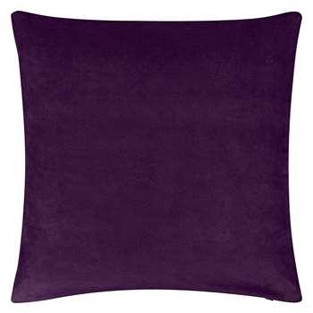 John Lewis Plain Velvet Cushion, Fig (50 x 50cm)
