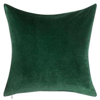 John Lewis Plain Velvet Cushion, Ivy (50 x 50cm)