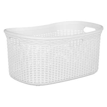 John Lewis Rattan Effect Storage Basket, Grey, 40L