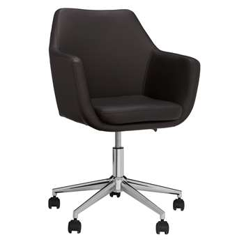 John Lewis & Partners Reid Faux Leather Office Chair, Black (H61 x W57 x D57cm)