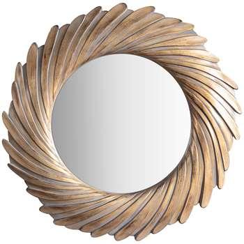 John Lewis Rosalyn Round Mirror, Antique Gold (H100 x W100 x D4.5cm)