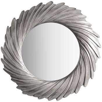 John Lewis Rosalyn Round Mirror, Antique Silver (H100 x W100 x D4.5cm)