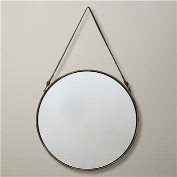 John Lewis & Partners Ronda Round Hanging Mirror, Brass (Diameter 38cm)