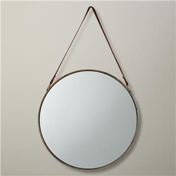 John Lewis Round Hanging Mirror, Dia. 50cm Brass