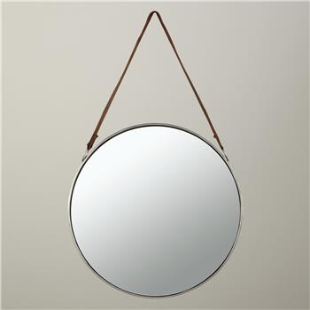 John Lewis Round Hanging Mirror, Dia. 50cm Nickel