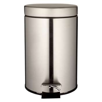 John Lewis Round Soft Close Pedal Bin, 3L Satin Steel 26 x 23.5cm