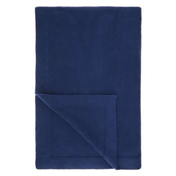 John Lewis Rye Plain Knit Throw, Dark Blue (150 x 200cm)