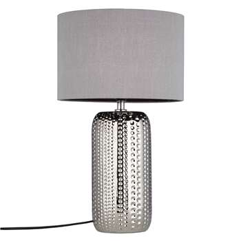 John Lewis Sabrina Dimple Ceramic Table Lamp, Chrome (46.5 x 27cm)