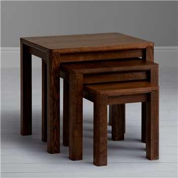 John Lewis Seymour Nest of 3 Tables, Dark Stain (Width 56cm)