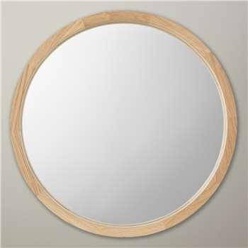 John Lewis Small Round Mirror, Oak Finish, Dia. 46cm