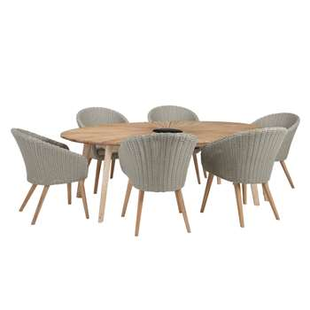 John Lewis Sol 6 Seater Oval Dining Table & Chairs Set, FSC-Certified (Eucalyptus), Natural (75 x 120cm)