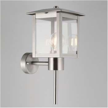 John Lewis Stowe Coach Lantern Outdoor Wall Light, Silver (37 x 16cm)