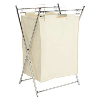 John Lewis The Basics Chrome Foldable Laundry Hamper, White 71 x 37cm