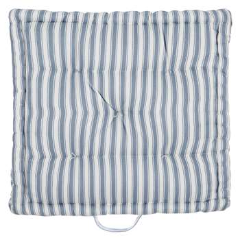John Lewis Ticking Stripe Boxed Seat Pad, Pacific (40 x 40cm)