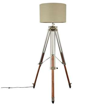 John Lewis Tommy Large Tripod Floor Lamp, Natural (H200 x W100 x D100cm)