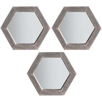 John Lewis Trey Trio Hexagonal Mirrors, Grey, Set of 3 (H35.5 x W30.5 x D3cm)