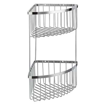 John Lewis Two Tier Stainless Steel Corner Shower Basket, Silver (34 x 18.5cm)