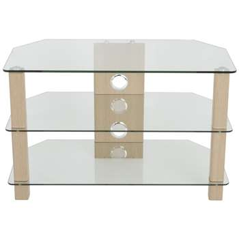 John Lewis WG800 TV Stand for TVs up to 40 - Oak/ Clear Glass 50 x 80cm