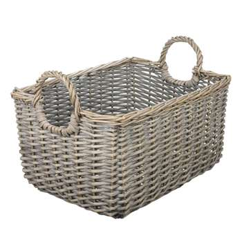 John Lewis Wicker Medium Basket, Grey (27.5 x 44cm)