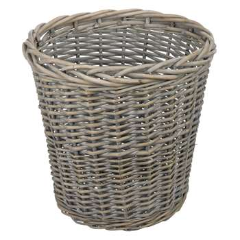 John Lewis Wicker Wastepaper Bin, Grey Wash 27 x 27cm