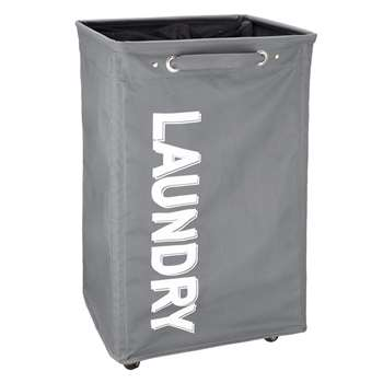John Lewis Wide Fabric Laundry Hamper, Grey
