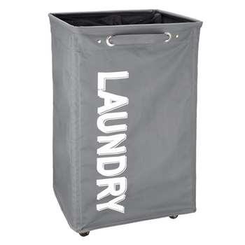 John Lewis Wide Fabric Laundry Hamper, Grey