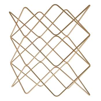 John Lewis Wire Wine Rack, 9 Bottle, Gold (36.5 x 37.5cm)