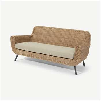 Jonah Garden 3 Seater Sofa, Natural Polyrattan (H82 x W199 x D86cm)
