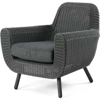 Jonah Outdoor Armchair, Rattan Grey (81 x 83cm)