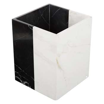 Jonathan Adler - Canaan Wastebasket - Black/White Marble (H24 x W19 x D19cm)