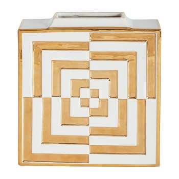 Jonathan Adler - Futura Op Art Square Vase - Gold (H24.7 x W21.5 x D6.3cm)