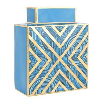 Jonathan Adler - Malachite X Vase - Blue (H19 x W15 x D7.5cm)