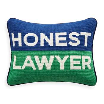 Jonathan Adler - Needlepoint Personality Pillow - Honest Lawyer (23 x 30.5cm)