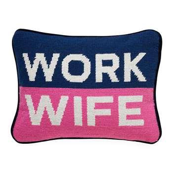 Jonathan Adler - UK Needlepoint Personality Pillow - Work Wife (H22.8 x W30.4cm)