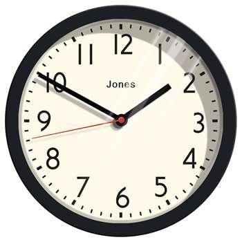 Jones Cosmos Wall Clock, Black (H25 x W25 x D5cm)