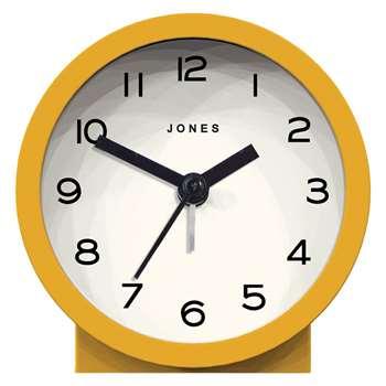 Jones Sunshine Alarm Clock, Mustard (H9 x W9 x D4cm)