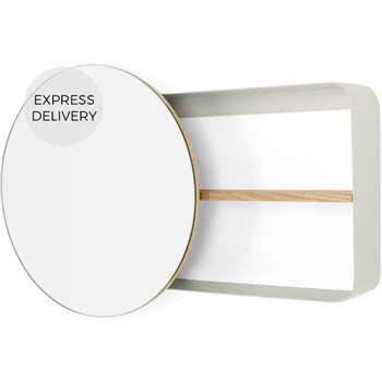 Joris Metal & Wood Round Mirror with Shelving Unit, Off White (H40 x W60 x D12cm)