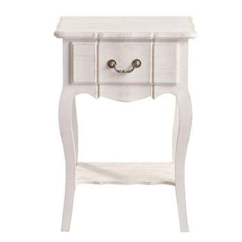 JOSÉPHINE Paulownia wood bedside table with drawer in white (65 x 44cm)