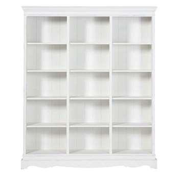JOSÉPHINE Paulownia wood bookcase in white (Width 160cm)