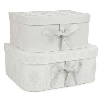 Josette Dove Grey Storage Boxes Set of 2 (H13 x W30 x D23cm)