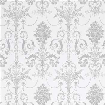 Josette White/Steel Damask Wallpaper
