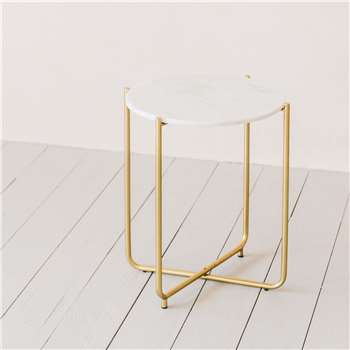 Joss Marble Side Table (H54 x W45 x D45cm)