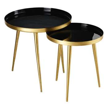 JOVI - 2 Gold and Black Metal Nesting End Tables (H46 x W46 x D46cm)